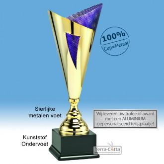 TC033.72LT Award met Goudkleurige open kelk en paarskleurige metalen binnenzijde (in 5 hoogten ± 47-58 cm hoog)