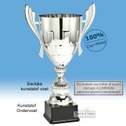 TC035.62ML Zilverkleurige Award met cup en oren (in 6 hoogten van ± 26 t/m 49 cm - Prijs vanaf € 17,95 t/m € 51,95)