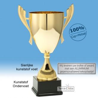 TC040.61ML Goudkleurige Award met cup en oren (in 6 hoogten van ± 23 t/m 46 cm - Prijs vanaf € 16,95 t/m € 49,95)