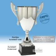 TC041.62ML Zilverkleurige Award met cup en oren (in 6 hoogten van ± 23 t/m 46 cm - Prijs vanaf € 16,95 t/m € 49,95)