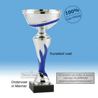 TC180.64ET Zilverkleurige Trofee met blauwe vlam en metalen schaal (leverbaar in 5 hoogten ± 21 t/m 33 cm)