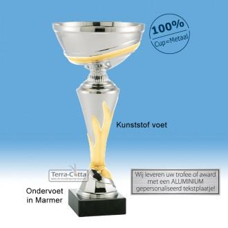 TC206.63ET Zilverkleurige Trofee met goudkleurige vlam en metalen schaal (leverbaar in 5 hoogten ± 21 t/m 33 cm)