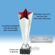 TC411.11ET - Zilverkleurige trofee met open kelk in stervorm met rode binnenzijde (leverbaar in 3 hoogten ± 23-25 cm hoog)