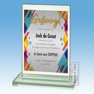 TCGL511W - Glazen Award met Aluminium plaat - Geslaagd model TRENDS ±15 cm hoog