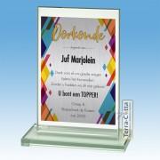 TCGL511W - Glazen Award met Aluminium plaat - Oorkonde TRENDS ±15 cm hoog