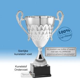 TC041.ML-B Zilverkleurige Award met cup en oren (in 6 hoogten van ± 23 t/m 41 cm)