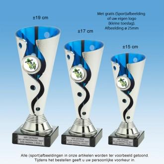 TC1064ST - Kunststof trofee schulp met zilver en blauw + afb. naar keuze (±15-19 cm hoog)