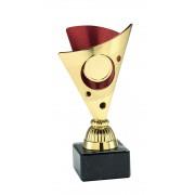 TC326.06SET - Goudkleurige trofee met rode accenten incl. afbeelding op open kelk  (± 15-17 cm)