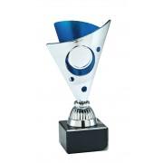 TC327.04SET - Zilverkleurige trofee met blauwe accenten incl. afbeelding op open kelk  (± 15-17 cm hoog)