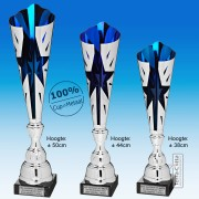 TC320X-Z Zilverkleurige Award met Blauw METALEN schulpen met stervormige uitsparing (38-50cm hoog)