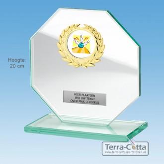 TCGL520W - Massief transparant Glazen Award Achthoek (15-20cm hoog)