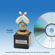 TC040FXM - Marmer blok zwart met kunststof resin BOWLING (± 12cm)