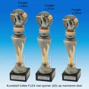 """TC150X22-FX017 - Kunststof trofee """"FLEX"""" op marmer blok incl. DARTS (± 25-29cm hoog)"""