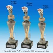"""TC150X22-FX018 - Kunststof trofee """"FLEX"""" op marmer blok incl. KAARTEN (± 25-29cm hoog)"""