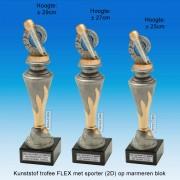 """TC150X22-FX025 - Kunststof trofee """"FLEX"""" op marmer blok incl. MICROFOON (± 25-29cm hoog)"""