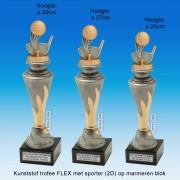 """TC150X22-FX032 - Kunststof trofee """"FLEX"""" op marmer blok incl. GOLF (± 25-29cm hoog)"""