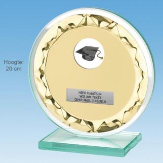 TCGL650WG - Massief transp. Glazen Award + sierplaat (GIFTBOX optioneel) (15-20cm)