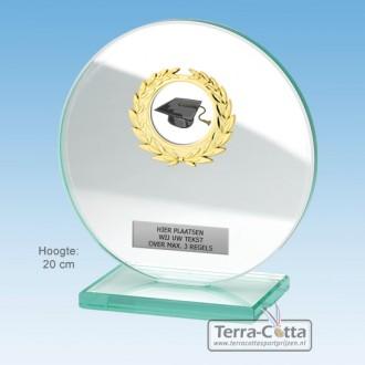 TCGL650W - Massief transparant Glazen Award ROND - (GIFTBOX optioneel) (15-20cm hoog)