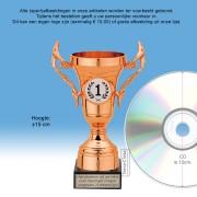 TC505QRB Kunststof trofee ROODBRONS 15cm met oren op marmeren voet - MET VOLUMEKORTING