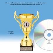 TC505QGG Kunststof trofee GOUD 15cm met oren op marmeren voet - MET VOLUMEKORTING