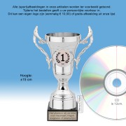 TC505QZG Kunststof trofee ZILVER 15cm met oren op marmeren voet - MET VOLUMEKORTING