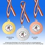 TC10D Medailles in Zijdeglans Metaal Ø 45mm. met gratis breed halslint - gewicht ±16 gram