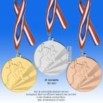 TC112DB Medaille HARDLOPEN van Hoogglans Metaal Ø 50mm. incl. gratis halslint en tekst aan achterzijde - gewicht ±30 gram