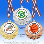 TC114D Extra zware medailles van Hoogglans metaal Ø70mm. met gratis breed halslint - gewicht ± 80 gram
