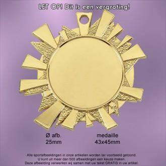 TC51D Medaille Metaal Hoogglans 43x45mm. met gratis Halslint - gewicht  ±14 gram