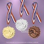 TC77D Medailles ZWEMMEN van Hoogglans Metaal Ø 50mm. met tekst achterzijde - gewicht ±13 gram