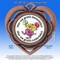 TC87D Medaille Hartvorm van Hoogglans Metaal Ø 50mm. met gratis halslint - gewicht  ±15 gram