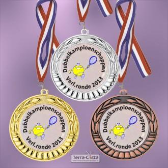 TC89D Medailles van Hoogglans Metaal Ø 70mm. met gratis breed halslint - gewicht ±36 gram