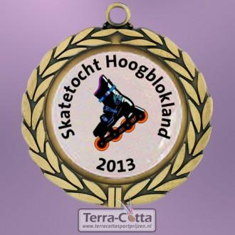 TC8DA Medailles Metaal Zamac Handgepolijst Ø 70mm. met gratis halslint - gewicht ±53 gram