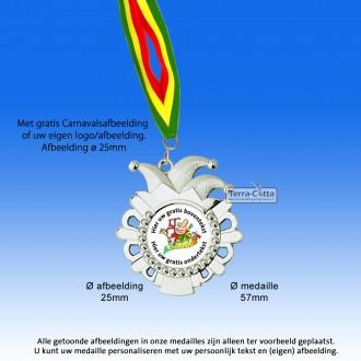 TC54D Carnavalsmedaille Zilverglans Metaal Ø 57mm. met gratis halslint - gewicht±22 gram