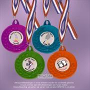 TCMX06 Medailles HEAVY Metaal gekleurd Poedercoat Ø 50mm. met gratis breed halslint