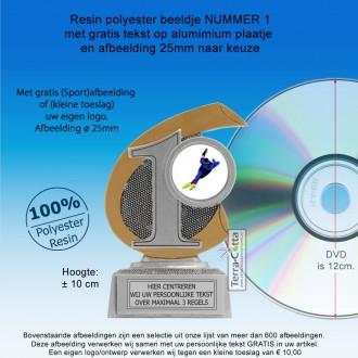 TC25123FG - Resin standaard met nummer 1-2-3 + afbeelding (± 10 cm)