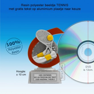 TC263FG -  Resin standaard TENNIS met rood accent (± 10 cm) MET VOLUMEKORTING!