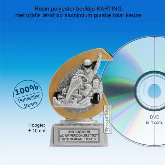 TC266FG  - Resin standaard KARTING met gouden accent (± 10 cm) MET VOLUMEKORTING!