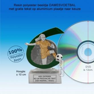 TC268FG  - Resin standaard DAMESVOETBAL met groen accent (± 10 cm) MET VOLUMEKORTING!