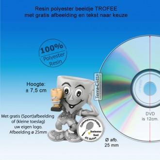 TC755FG - Resin beeldje TROFEE met 25mm afbeelding (± 7,5cm hoog) MET VOLUMEKORTING