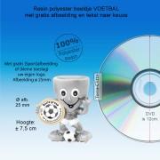 TC756FG - Resin VOETBAL beeldje met 25mm afbeelding (± 7,5cm hoog) MET VOLUMEKORTING