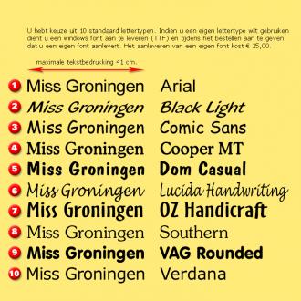TCS04 Sjerp ZWART-ROOD-GEEL met tekst bedrukking - met of zonder Heuprozet
