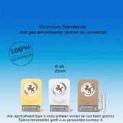 TC115DMG - Aluminium standaard met gediamanteerde randen + tekstplaatje (± 7,5cm hoog)