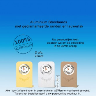 TC115D - Aluminium standaard met gediamanteerde randen + tekst om afbeelding (± 75 x 48 mm)